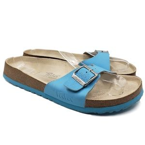 Tula Birkenstock Blue Single Strap Slide Sandals